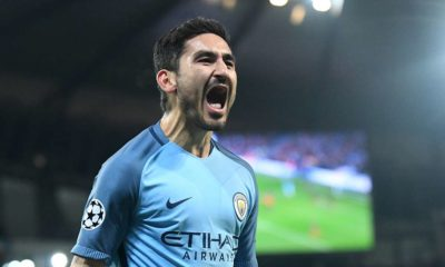 Ilkay Gundogan celebrates a goal scored for Manchester City