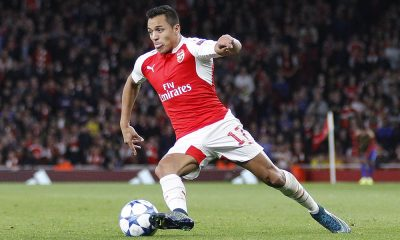 Alexis Sanchez playing for Arsenal in the UEFA Champions League match between Arsenal and Olympiacos at The Emirates Stadium on September 29, 2015 in London, United Kingdom