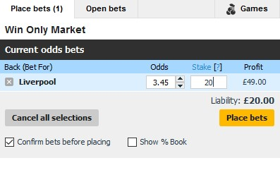 Betfair football back betting slip