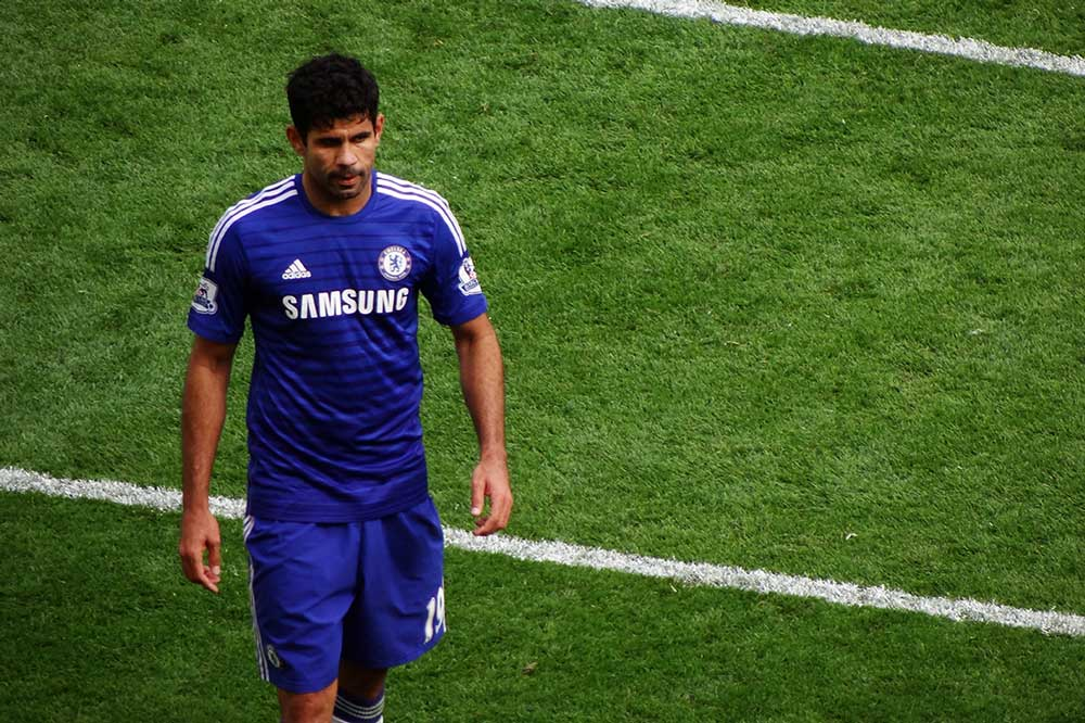 Diego Costa playing for Chelsea FC