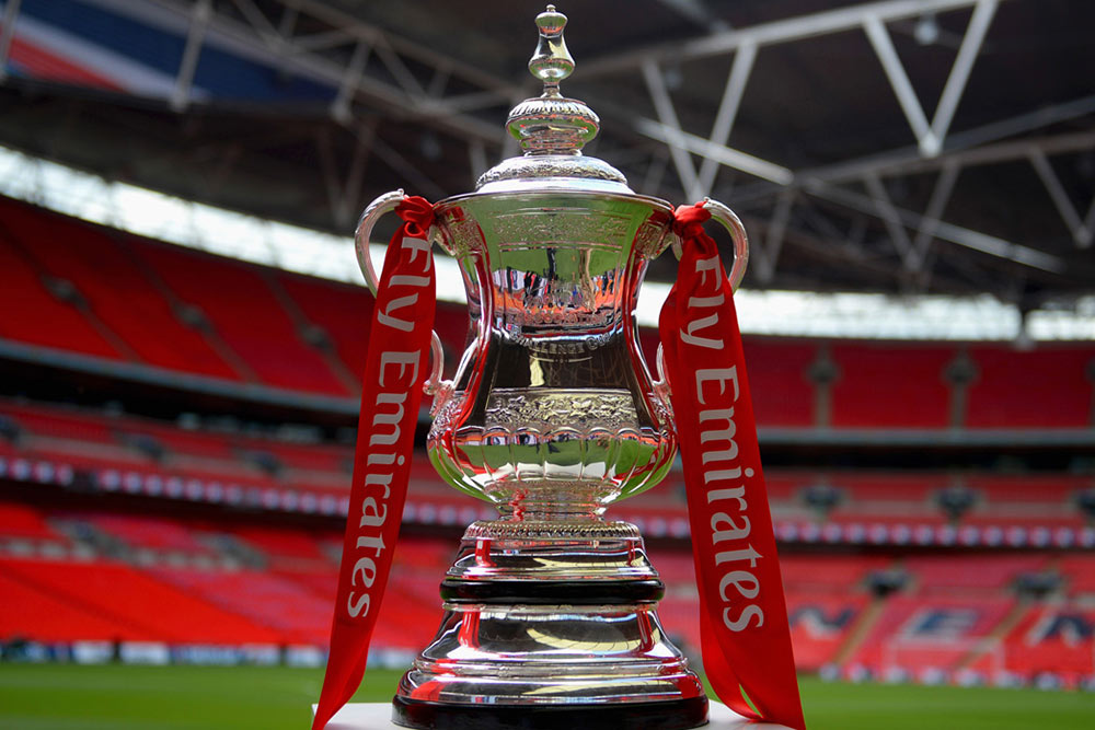 The Emirates FA Cup trophy at Wembley stadium