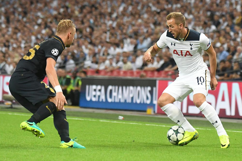 Harry Kane of Tottenham pictured during the UEFA Champions League Group E game between Tottenham Hotspur and AS Monaco on Wembley Stadium.