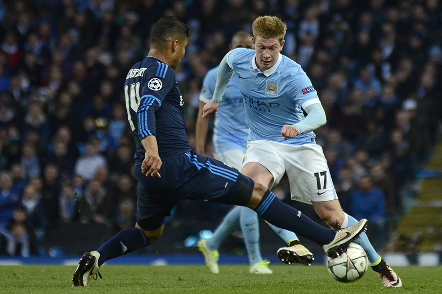Kevin De Bruyne pictured during UEFA Champions League semi-final game between Manchester City and Real Madrid at Etihad stadium.