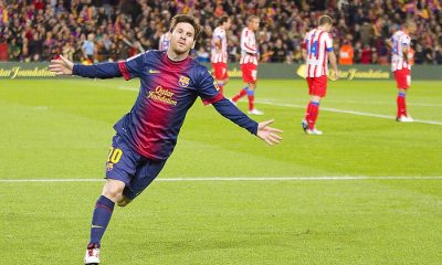 lionel messi celebrating goal champions league